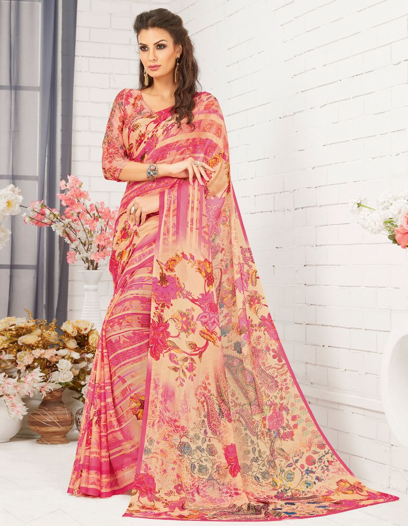 Pink Color Chiffon Party Wear Sarees : Nadika Collection  NYF-2734 - YellowFashion.in