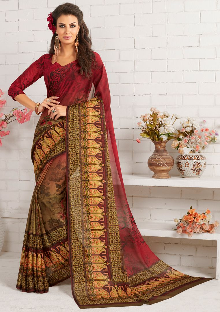 Maroon Color Cotton Silk Party Wear Sarees : Nadika Collection  NYF-2735 - YellowFashion.in