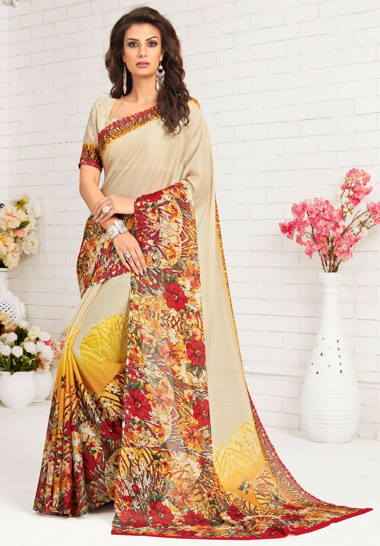 Cream Color Pashmina Silk Party Wear Sarees : Nadika Collection  NYF-2738 - YellowFashion.in