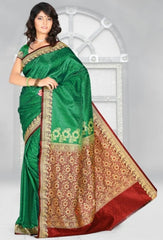 Green & Red Color Art Silk Casual Wear Sarees : Dhir Collection  YF-31535