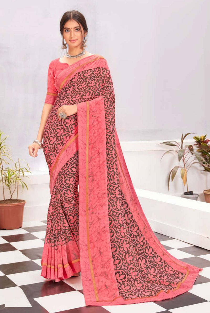 Pink Color Georgette Casual Wear Saree -  Kiah Collection  YF#11393