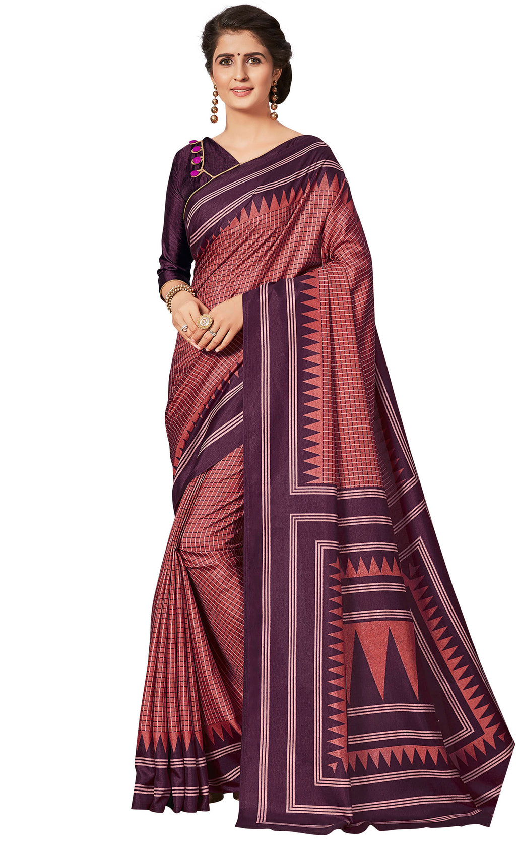Brick Red & Purple Color Crepe Printed Office Wear Sarees NYF-7682
