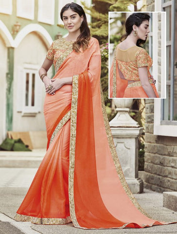 Peach & Orange Color Wrinkle Chiffon Festival & Function Wear Sarees : Maheri Collection  YF-45127