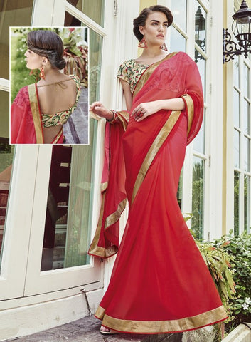Red Color Wrinkle Chiffon Festival & Function Wear Sarees : Maheri Collection  YF-45129