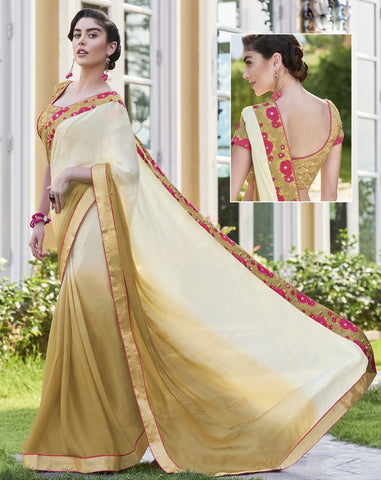 Cream & Golden Color Wrinkle Chiffon Festival & Function Wear Sarees : Maheri Collection  YF-45136