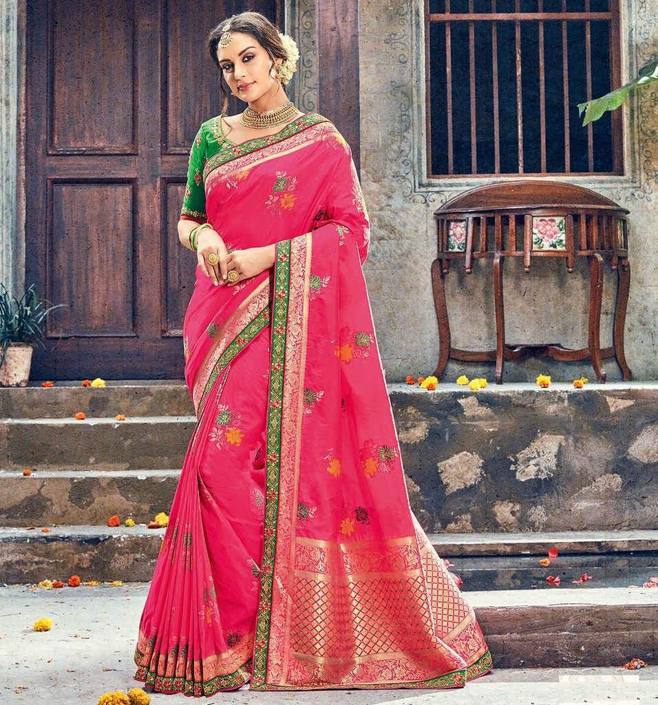 Pink Color Raw Silk Designer Wedding Wear Sarees : Pakhudi Collection  NYF-1515 - YellowFashion.in