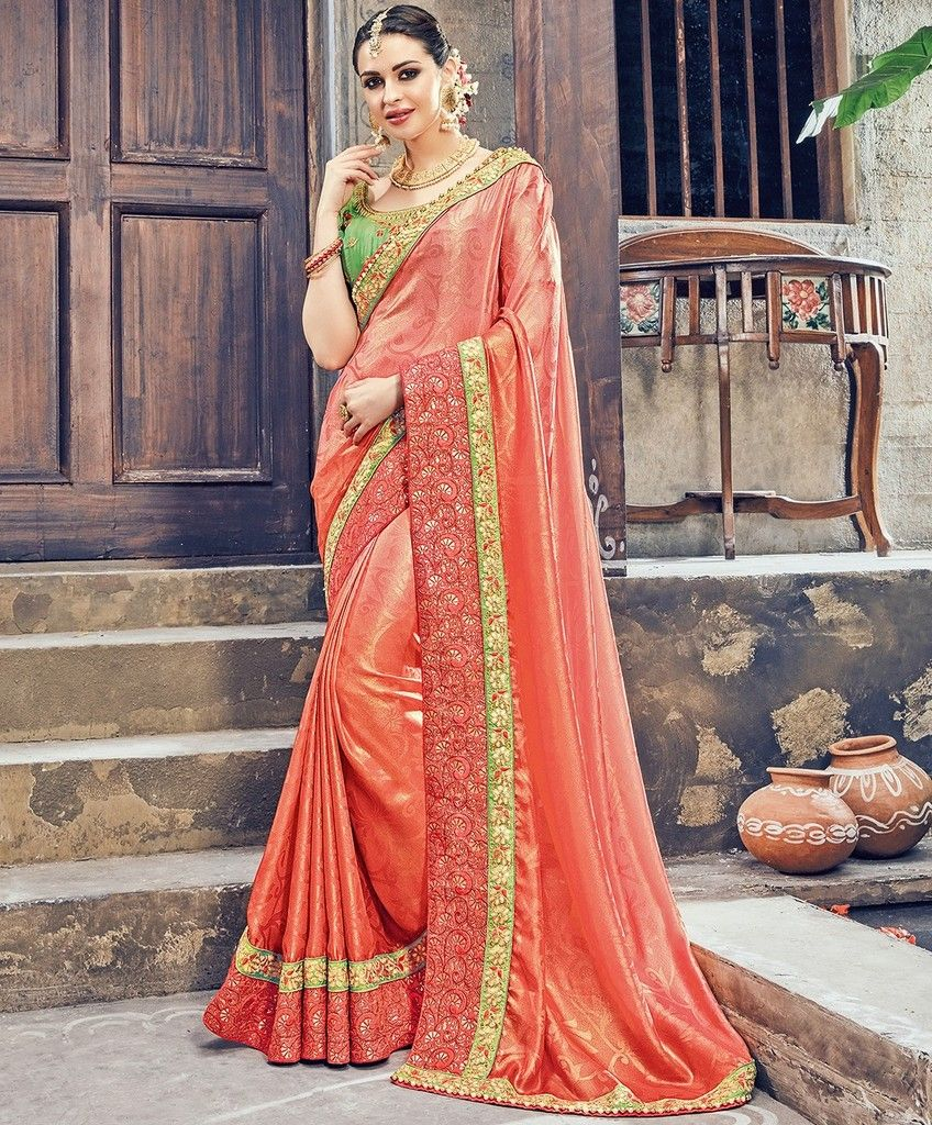 Peach Color Crepe Silk Designer Wedding Wear Sarees : Pakhudi Collection  NYF-1518 - YellowFashion.in