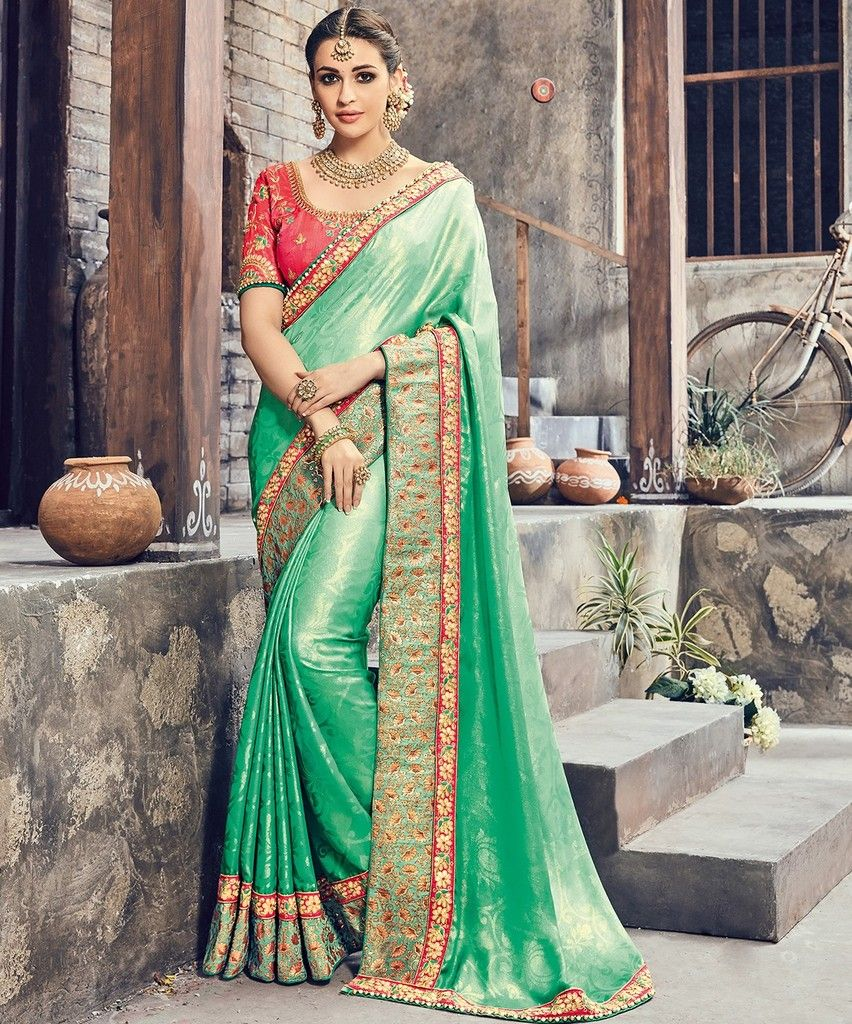 Sea Green Color Crepe Silk Designer Wedding Wear Sarees : Pakhudi Collection  NYF-1519 - YellowFashion.in