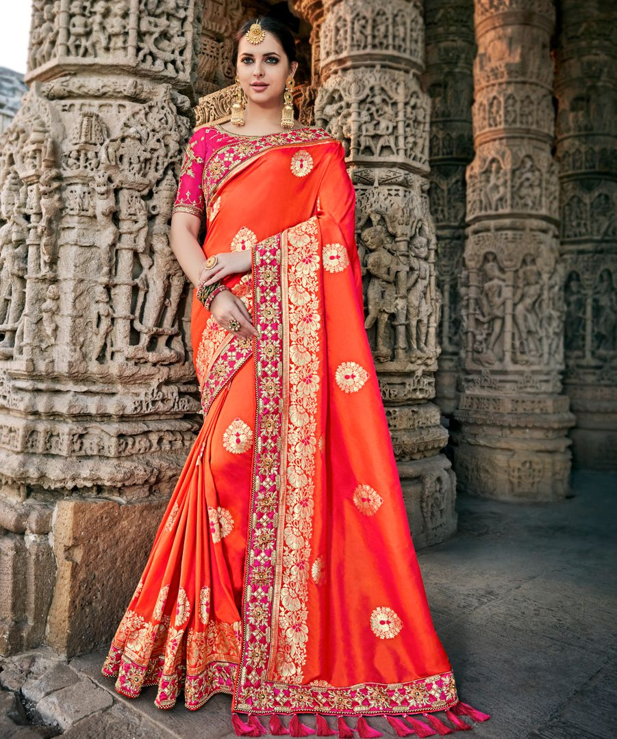 Peach Color Raw Silk Designer Party Wear Sarees : Acharya Collection  NYF-2490 - YellowFashion.in