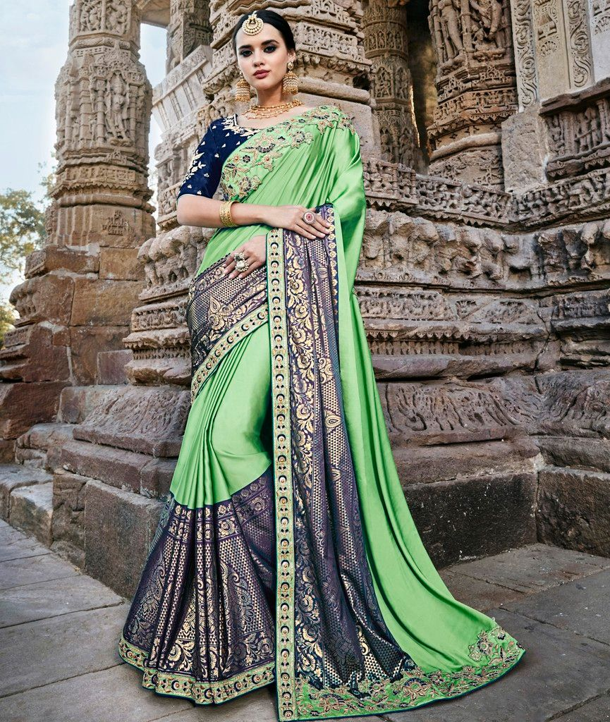 Pearl Green & Blue Color Crepe Silk Designer Wedding Wear Sarees : Pakhudi Collection  NYF-1525 - YellowFashion.in