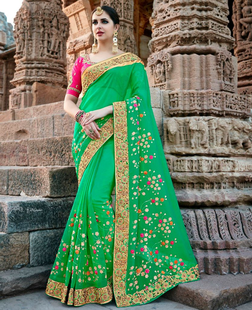 Green Color Chiffon Designer Wedding Wear Sarees : Pakhudi Collection  NYF-1526 - YellowFashion.in