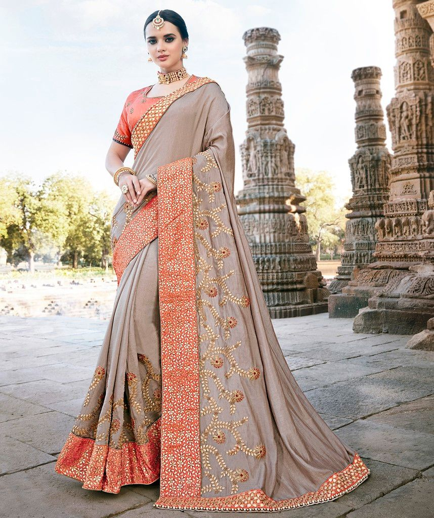 Grey Color Raw Silk Designer Wedding Wear Sarees : Pakhudi Collection  NYF-1527 - YellowFashion.in