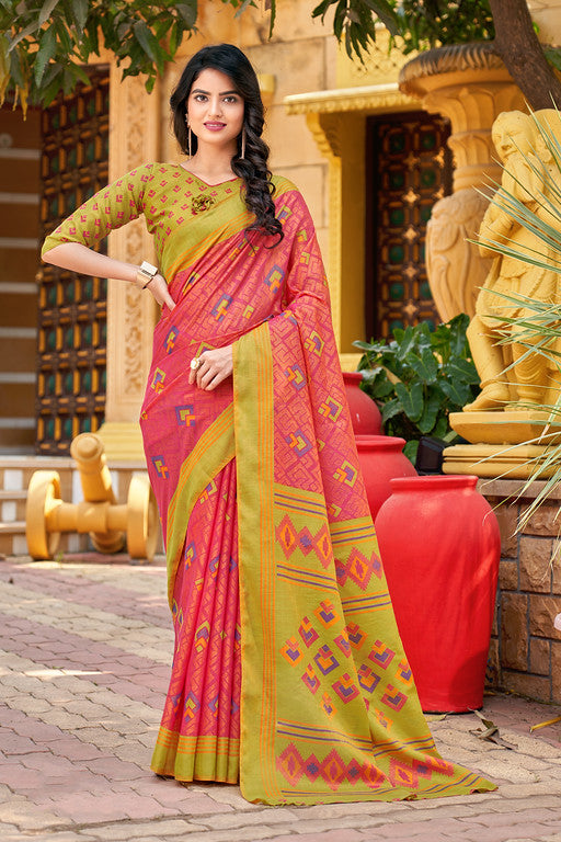 Pink and Green Color Art Silk  Ethnic Wear -  Radhey Collection  YF#10747