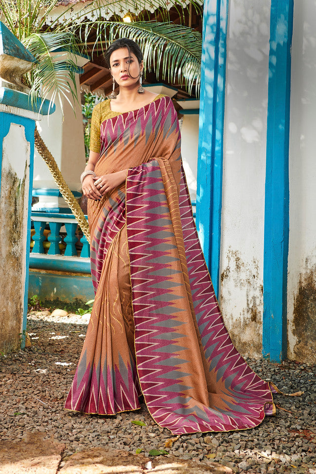 Rust Brown Color Soft Silk Ocassion Wear Saree- Kettai Collection YF#11779
