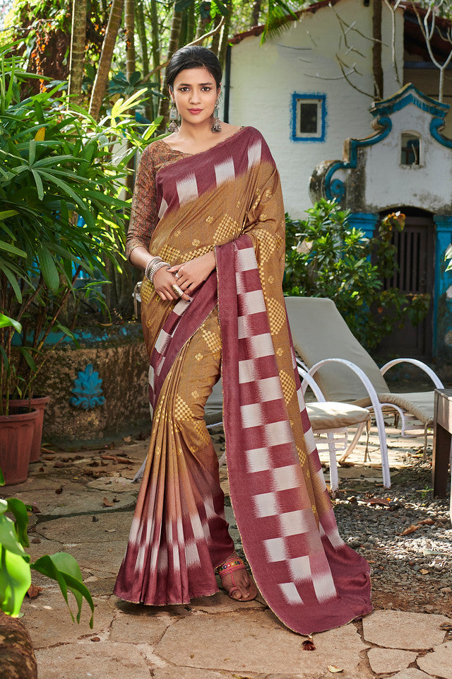 Brown Color Soft Silk Ocassion Wear Saree- Kettai Collection YF#11780
