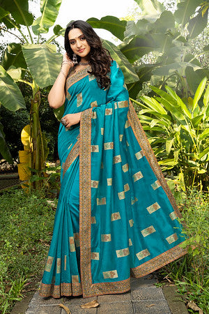 Firozi  And  Brown Color Chanderi Silk Digital Print Casual Wear Saree- Skye Collection  YF#10720