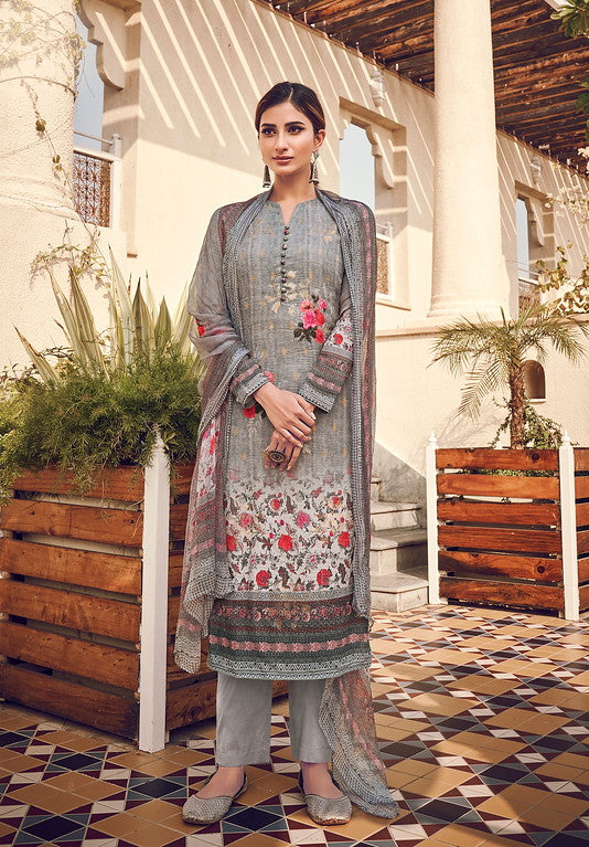 Grey Color Top - Viscose Silk Bottom - Cotton Satin Dupatta - Chinnon Designer Dress Material -  Kreesha Collection  YF#10623