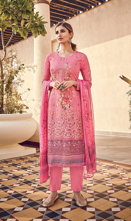 Pink Color Top - Viscose Silk Bottom - Cotton Satin Dupatta - Chinnon Designer Dress Material -  Kreesha Collection  YF#10624