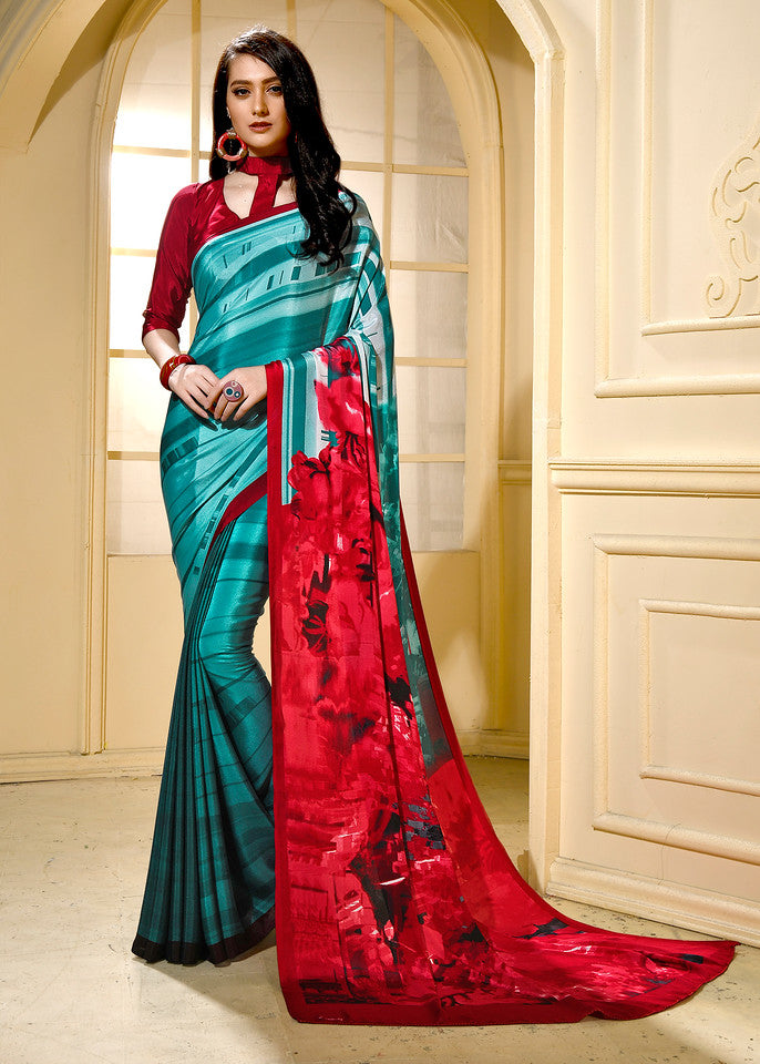 Red Color Crepe Ocassion Wear Saree- Krithika Collection YF#11814