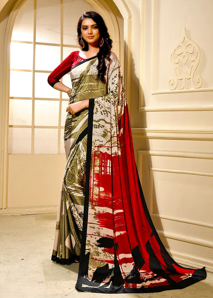 Red Color Crepe Ocassion Wear Saree- Krithika Collection YF#11820