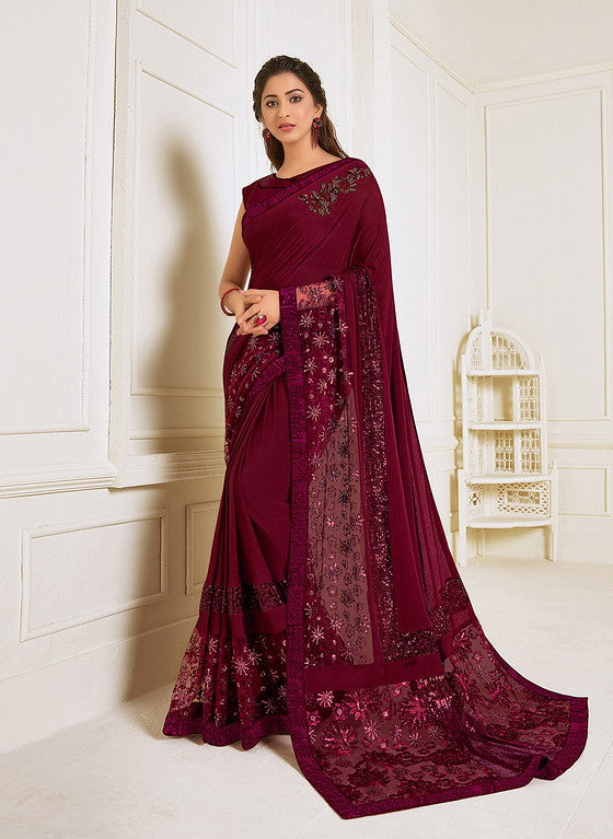Wine Color Lycra With Raw silk Blouse Evening Wear Saree- Zivah Collection  YF#10805