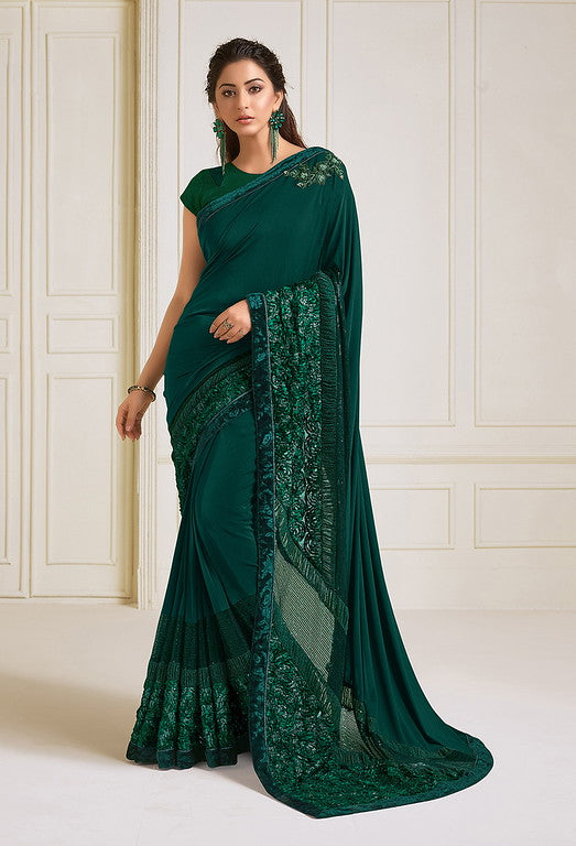 Green Color Lycra With Raw silk Blouse Evening Wear Saree- Zivah Collection  YF#10806