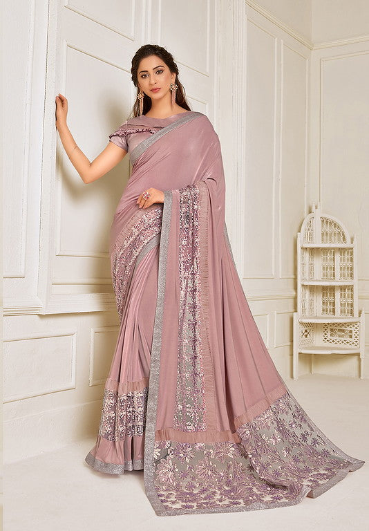 Onion Pink Color Lycra With Raw silk Blouse Evening Wear Saree- Zivah Collection  YF#10807
