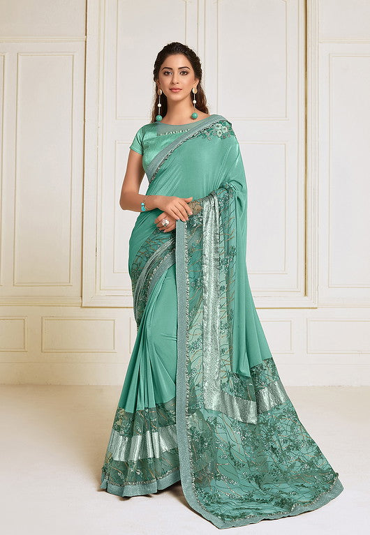 Sea green Color Lycra With Raw silk Blouse Evening Wear Saree- Zivah Collection  YF#10808