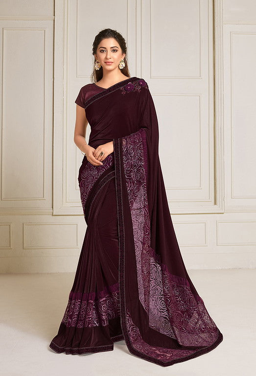 Wine Color Lycra With Raw silk Blouse Evening Wear Saree- Zivah Collection  YF#10809