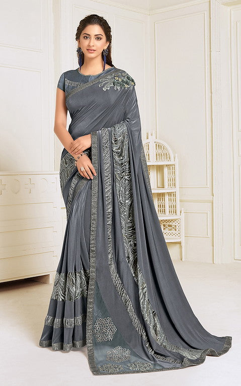 Grey Color Lycra With Raw silk Blouse Evening Wear Saree- Zivah Collection  YF#10810