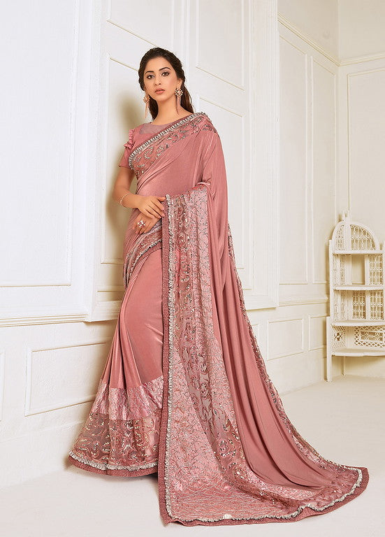 Pink Color Lycra With Raw silk Blouse Evening Wear Saree- Zivah Collection  YF#10811