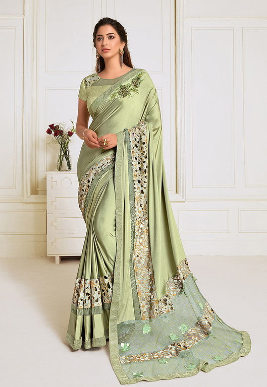 Pastel Green Color Lycra With Raw silk Blouse Evening Wear Saree- Zivah Collection  YF#10812