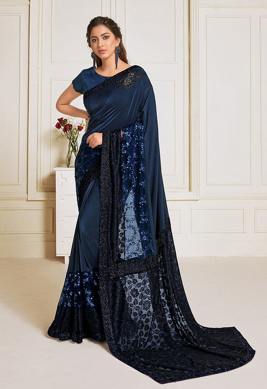 Navy Blue Color Lycra With Raw silk Blouse Evening Wear Saree- Zivah Collection  YF#10813