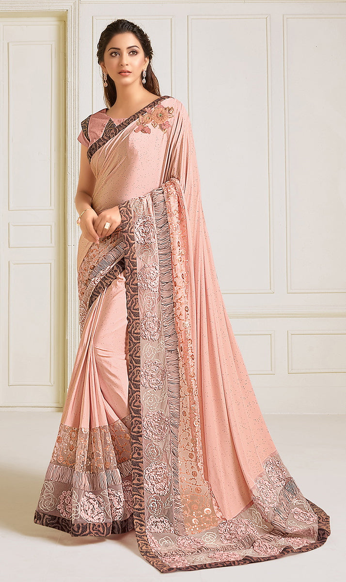 Peach Color Lycra With Raw silk Blouse Evening Wear Saree- Zivah Collection  YF#10814