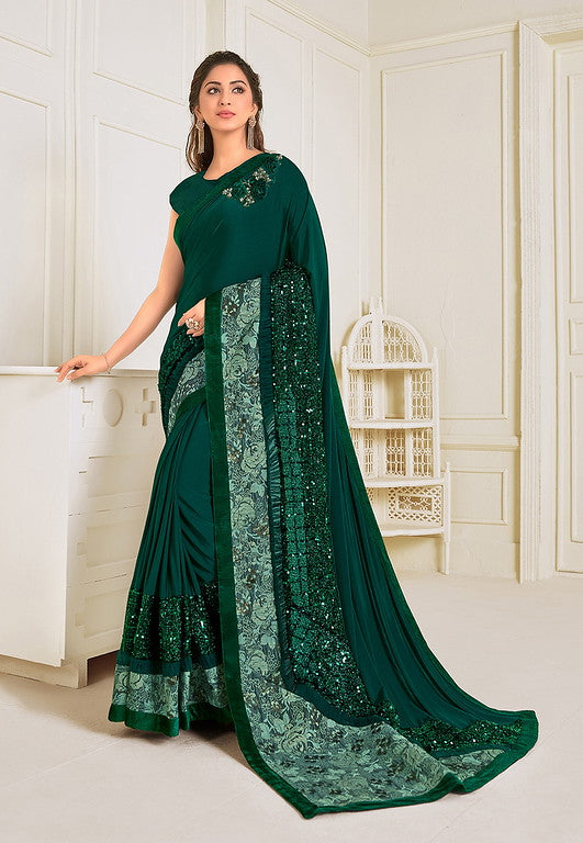 Dark Green Color Lycra With Raw silk Blouse Evening Wear Saree- Zivah Collection  YF#10815