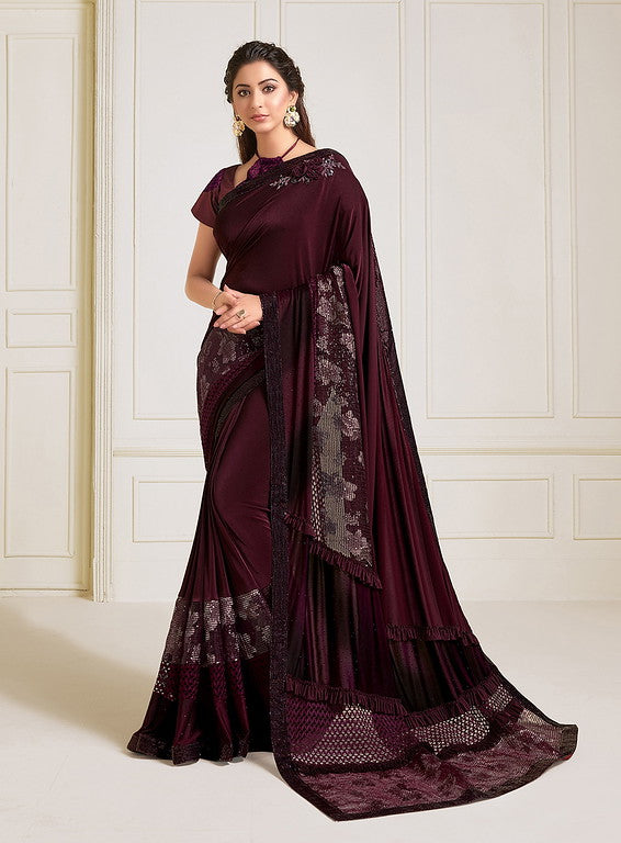 Wine Color Lycra With Raw silk Blouse Evening Wear Saree- Zivah Collection  YF#10816