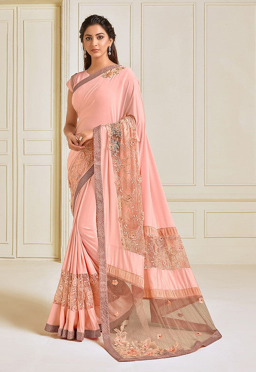 Peach Color Lycra With Raw silk Blouse Evening Wear Saree- Zivah Collection  YF#10817