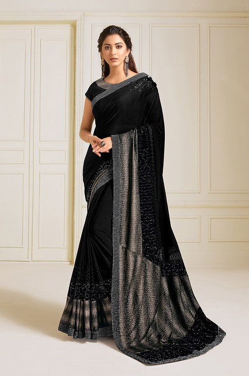 Black Color Lycra With Raw silk Blouse Evening Wear Saree- Zivah Collection  YF#10818