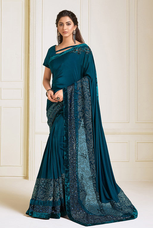 Peacock blue Color Lycra With Raw silk Blouse Evening Wear Saree- Zivah Collection  YF#10819