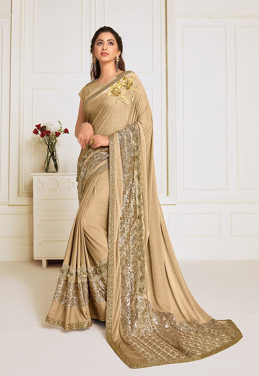 Beige Color Lycra With Raw silk Blouse Evening Wear Saree- Zivah Collection  YF#10820
