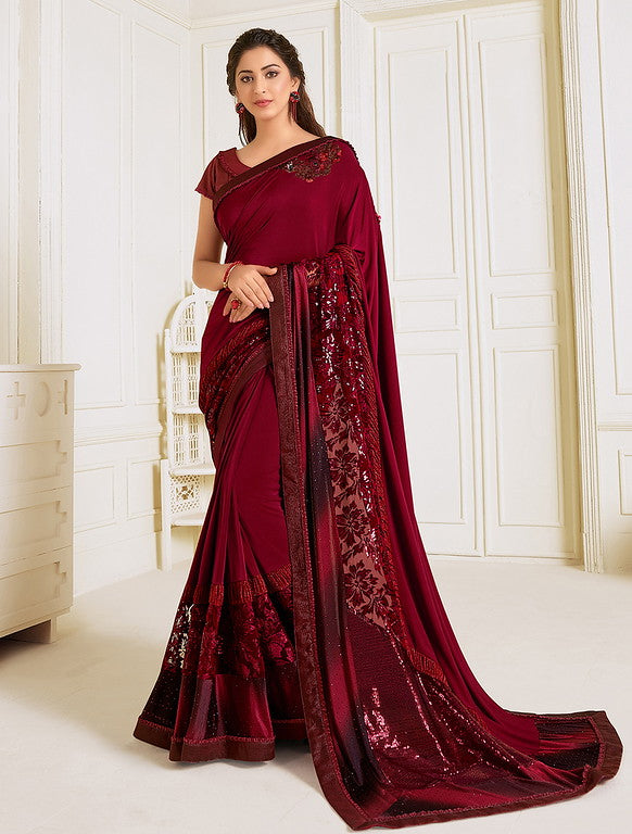 Maroon Color Lycra With Raw silk Blouse Evening Wear Saree- Zivah Collection  YF#10821