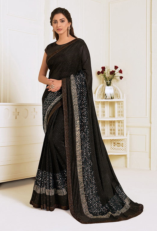 Dark Chocolate Brown Color Lycra With Raw silk Blouse Evening Wear Saree- Zivah Collection  YF#10822