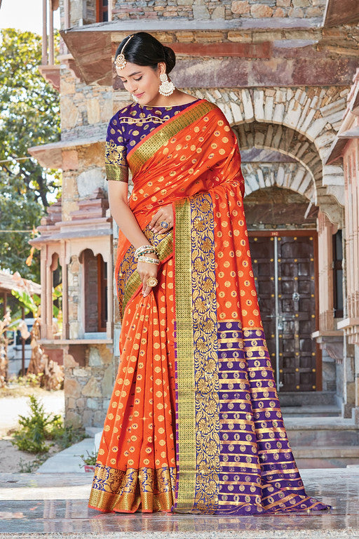 Orange and Blue Color Handloom Silk With Woven Jari Work Traditional Wear Saree  -Pavani  Collection  YF#10836
