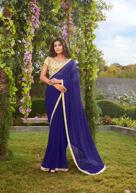 Ink Blue Color Georgette Evening Wear-Kyra Collection  YF#10836