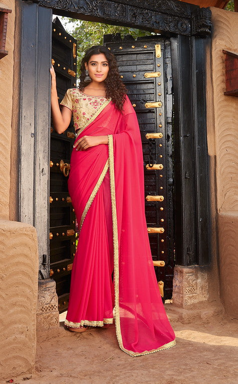 Pink Color Georgette Evening Wear-Kyra Collection  YF#10836