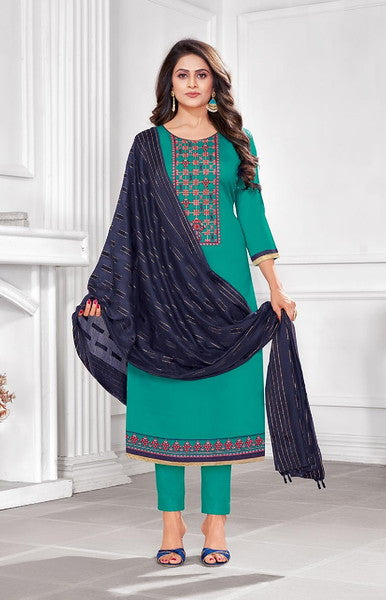 Rama and Navy Blue Color Cotton with Soft Material Dupatta Unstiched Dress Material -  Grishma Collection  YF#10866