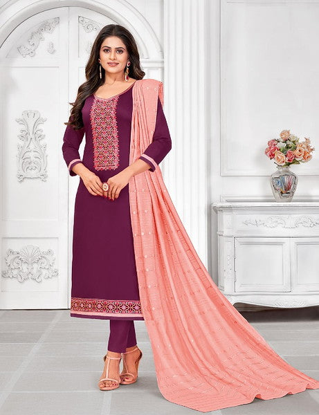 Purple and Salmon Color Cotton with Soft Material Dupatta Unstiched Dress Material -  Grishma Collection  YF#10869