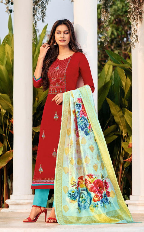 Red and Blue Color Cotton With Banarasi Jacquard Dupatta Unstiched Dress Material -  Oorvi Collection  YF#10872