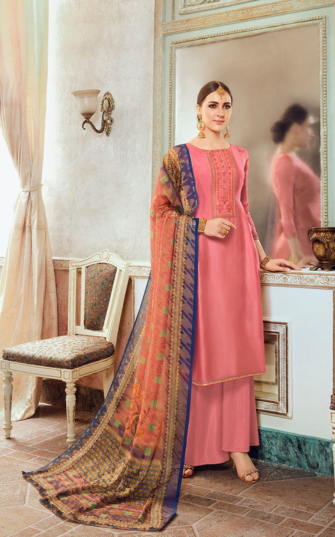 Pink  Color Unique Designer Fabric  Unstiched Dress Material -  Lopa Collection  YF#10884