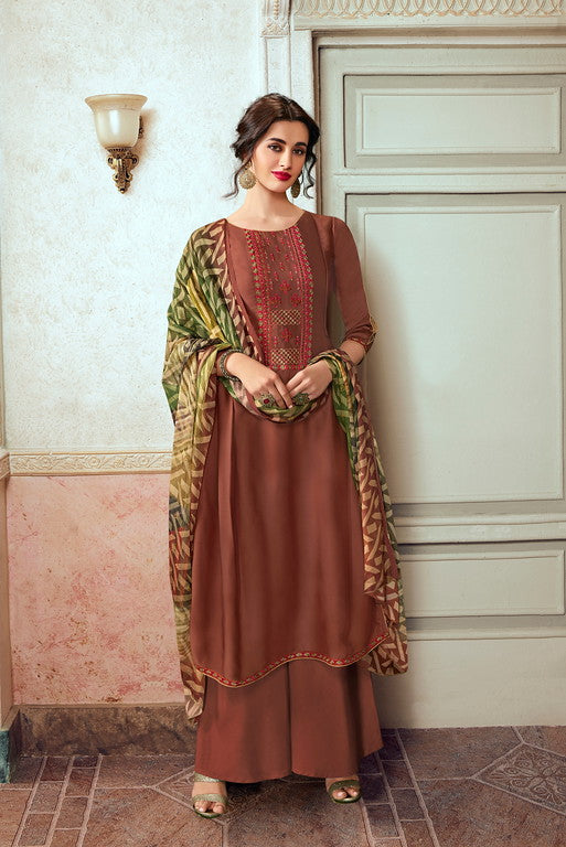 Brown Color Unique Designer Fabric  Unstiched Dress Material -  Lopa Collection  YF#10885